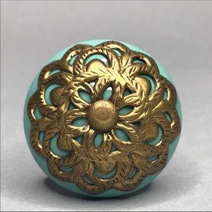 Anthropologie Ceramic & Brass Knob Turquoise